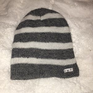 Gray and white stripped beanie